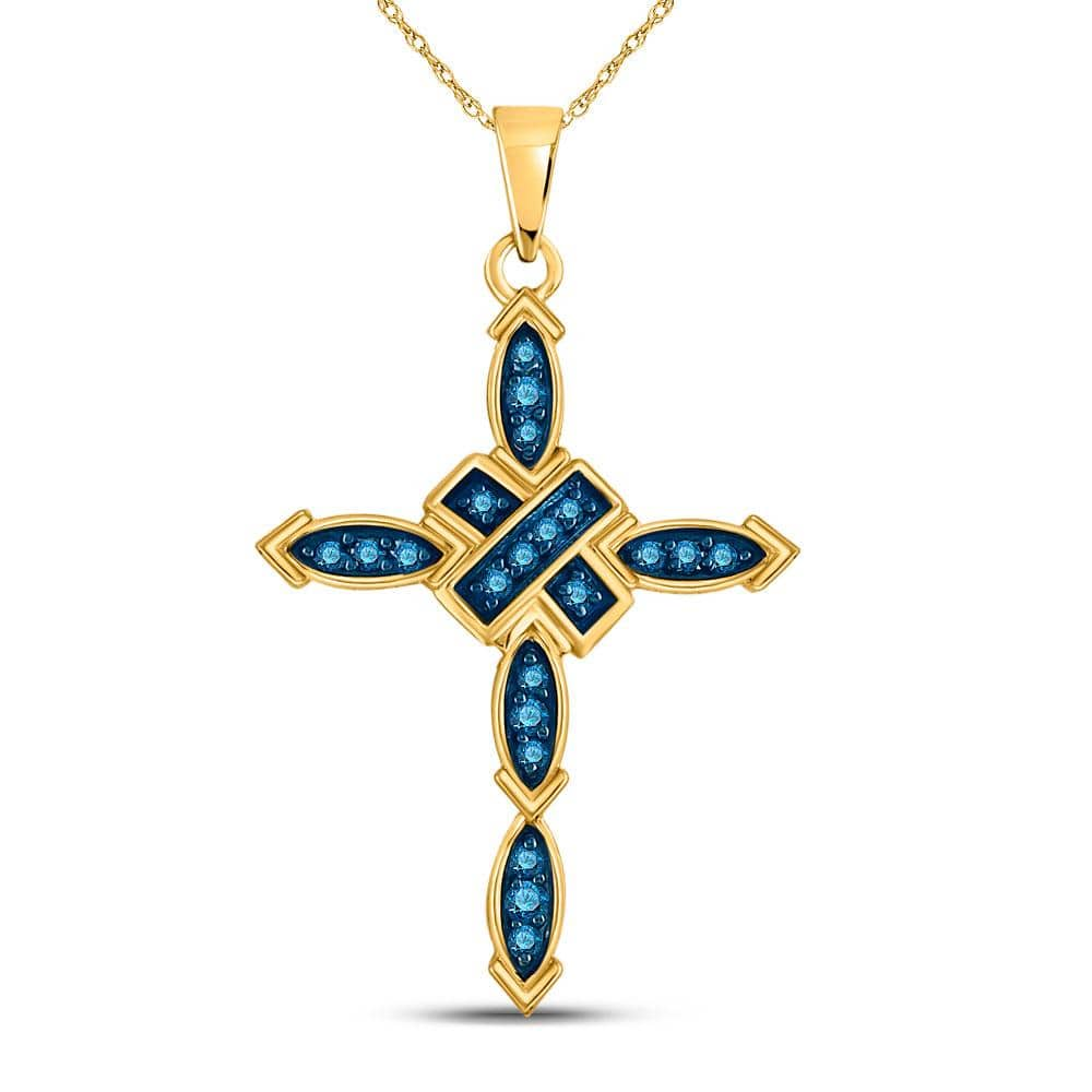 10kt Yellow Gold Womens Round Blue Color Enhanced Diamond Cross Pendant 1/5 Cttw
