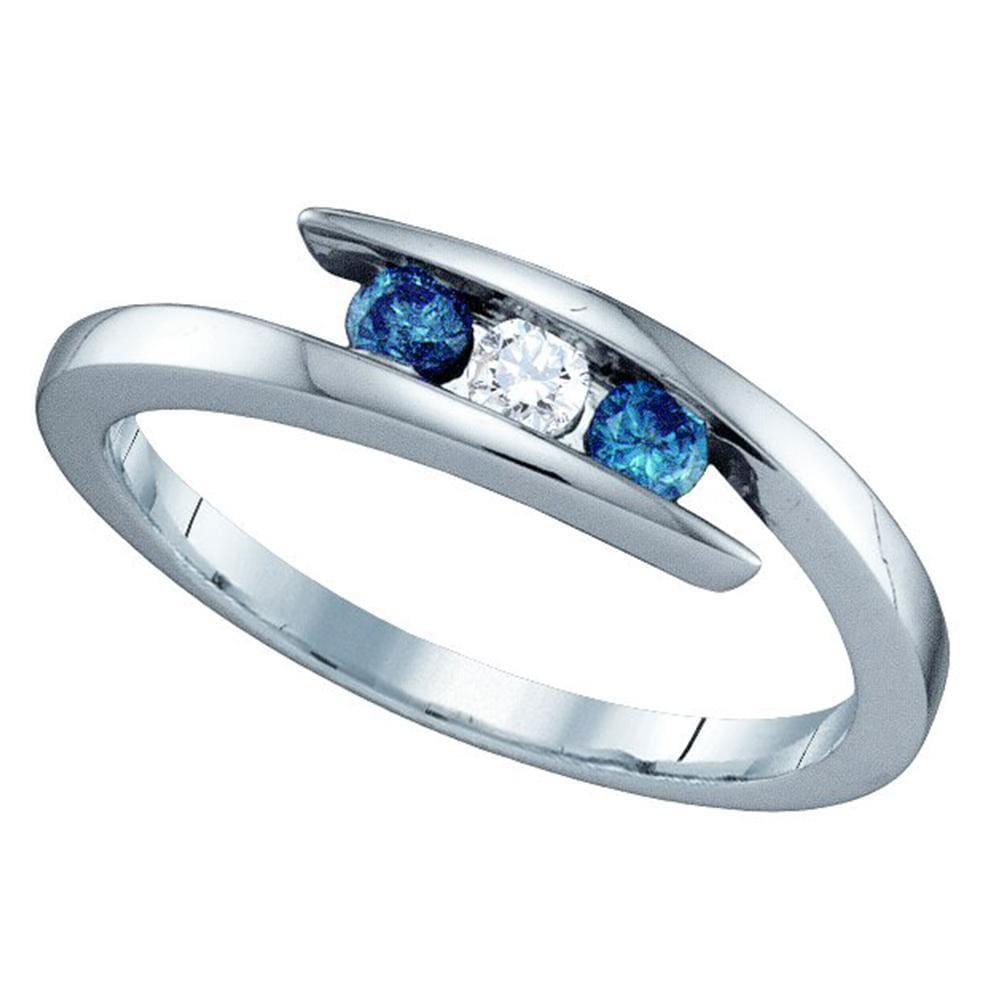 10kt White Gold Round Blue Color Enhanced Diamond 3-stone Ring 1/4 Cttw