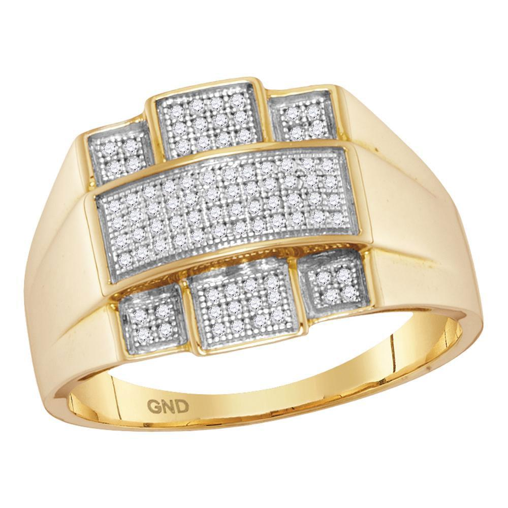 10kt Yellow Gold Mens Round Diamond Domed Cross Ring 1/4 Cttw