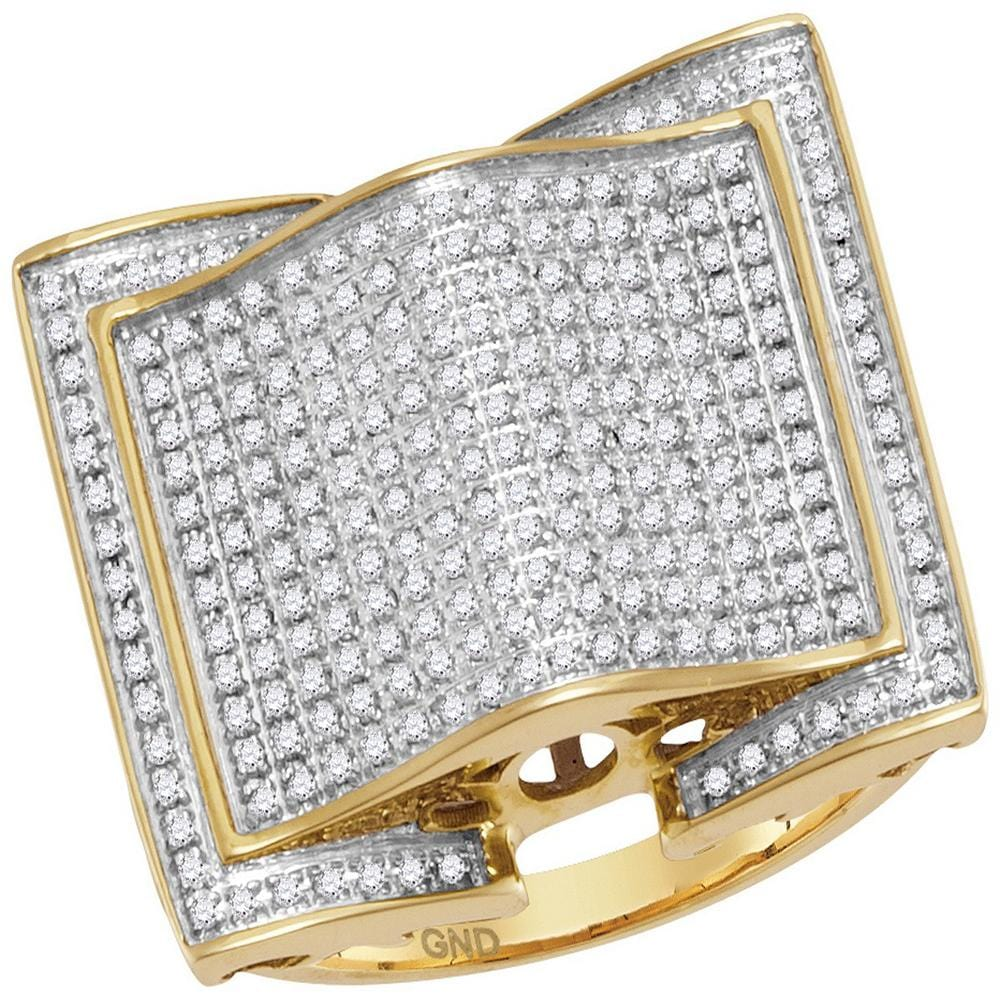 10kt Yellow Gold Mens Round Diamond Arched Square Cluster Ring 3/4 Cttw