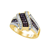 10kt Yellow Gold Womens Round Brown Color Enhanced Diamond Crossover Ring 1/2 Cttw