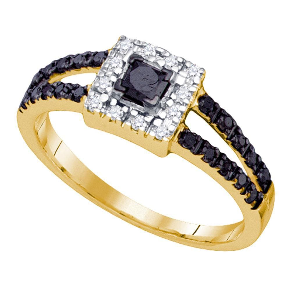 10kt Yellow Gold Princess Black Color Enhanced Diamond Bridal Wedding Ring 5/8 Cttw