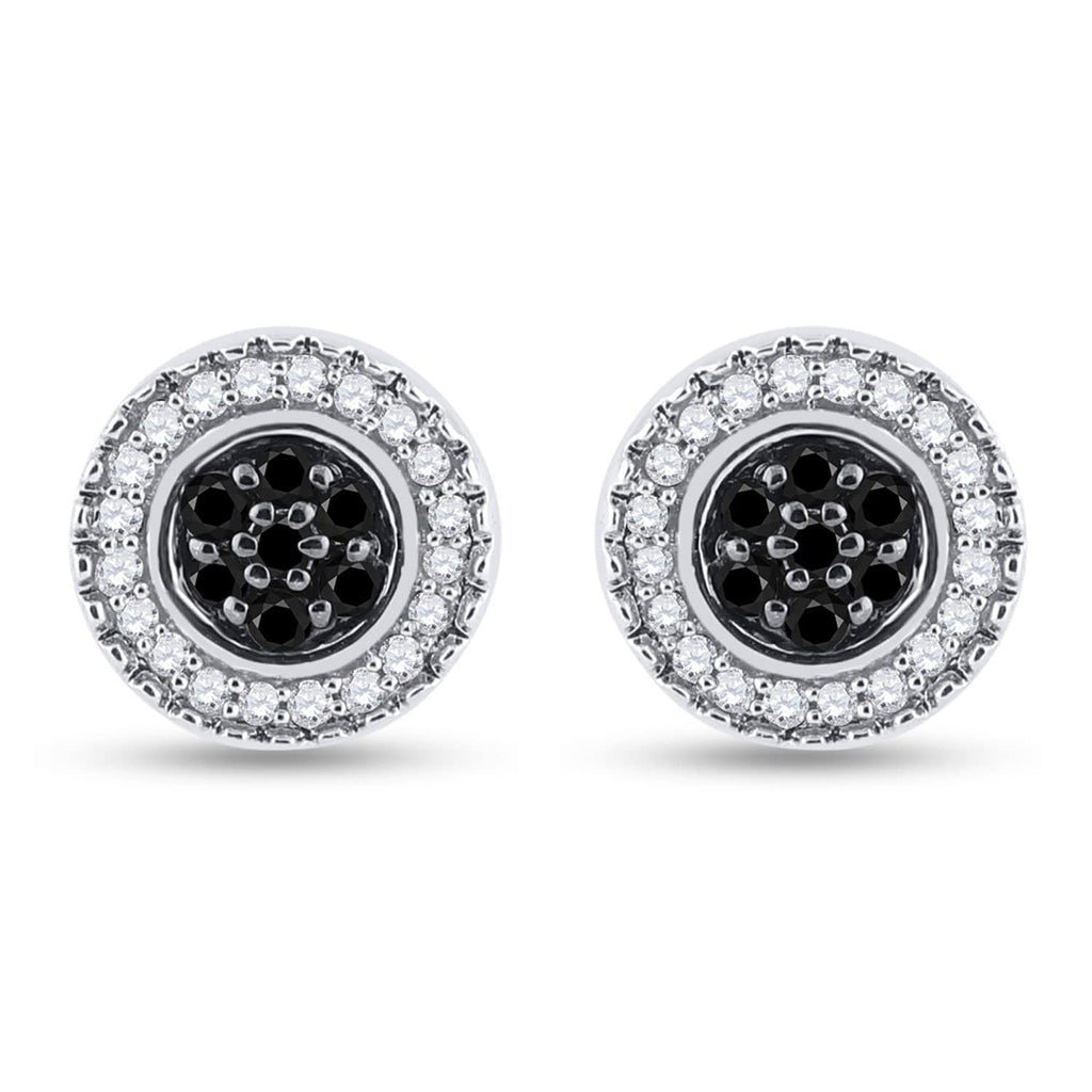 Sterling Silver Womens Round Black Color Enhanced Diamond Circle Frame Cluster Earrings 1/4 Cttw