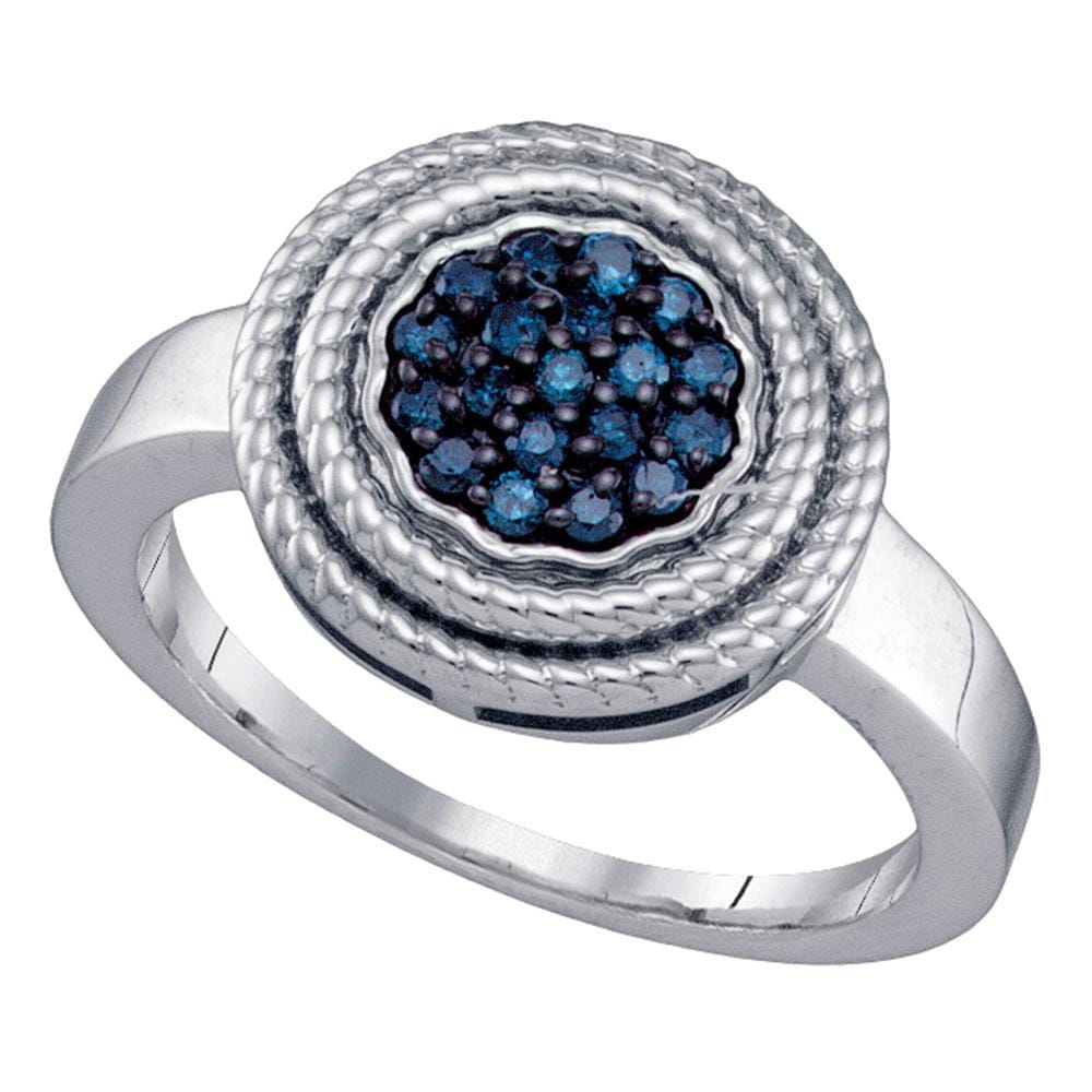 Sterling Silver Womens Round Blue Color Enhanced Diamond Concentric Milgrain Cluster Ring 1/4 Cttw