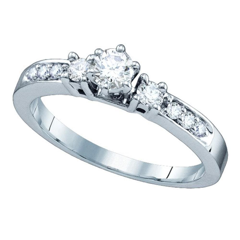 14kt White Gold Womens Round Diamond 3-stone Bridal Wedding Engagement Ring 3/8 Cttw
