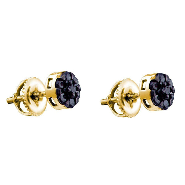 10kt Yellow Gold Womens Round Black Color Enhanced Diamond Flower Cluster Screwback Earrings 3/8 Cttw