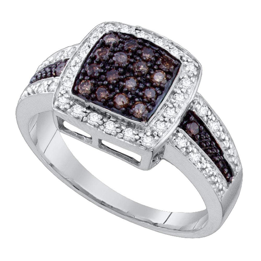10k White Gold Cognac-brown Color Enhanced Diamond Womens Cluster Square-shape Cocktail Ring 1/2 Cttw