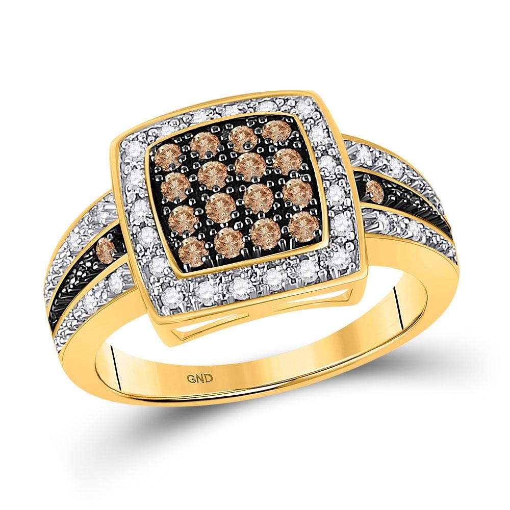 10k Yellow Gold Brown Diamond Womens Cluster Square-shape Cocktail Ring 1/2 Cttw