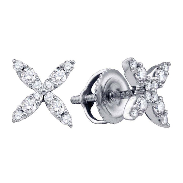14kt White Gold Womens Round Diamond X Stud Earrings 1/4 Cttw