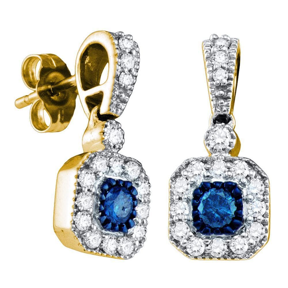 10kt Yellow Gold Womens Round Blue Color Enhanced Diamond Square Dangle Screwback Earrings 5/8 Cttw