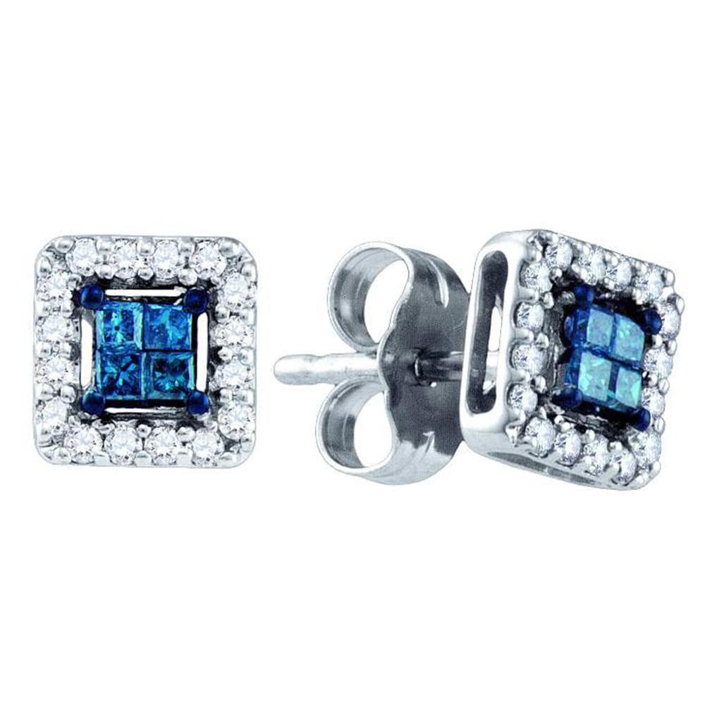 10kt White Gold Womens Princess Blue Color Enhanced Diamond Square Earrings 1/4 Cttw