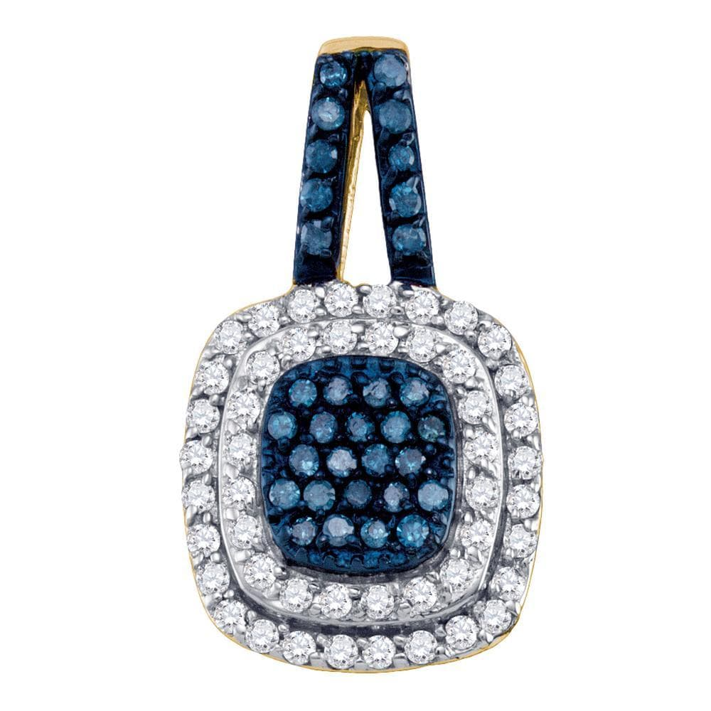 10kt Yellow Gold Womens Round Blue Color Enhanced Diamond Square Cluster Pendant 1/2 Cttw