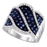 10kt White Gold Womens Round Blue Color Enhanced Natural Diamond Striped Cocktail Ring 3/4 Cttw