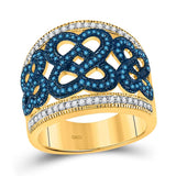 10kt Yellow Gold Womens Round Blue Color Enhanced Diamond Linked Heart Ring 1/2 Cttw