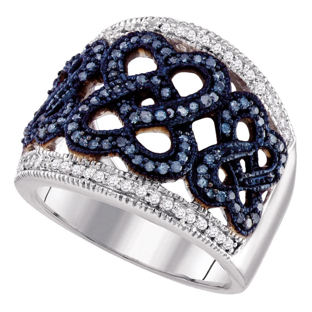 10kt White Gold Womens Round Blue Color Enhanced Diamond Linked Heart Ring 1/2 Cttw