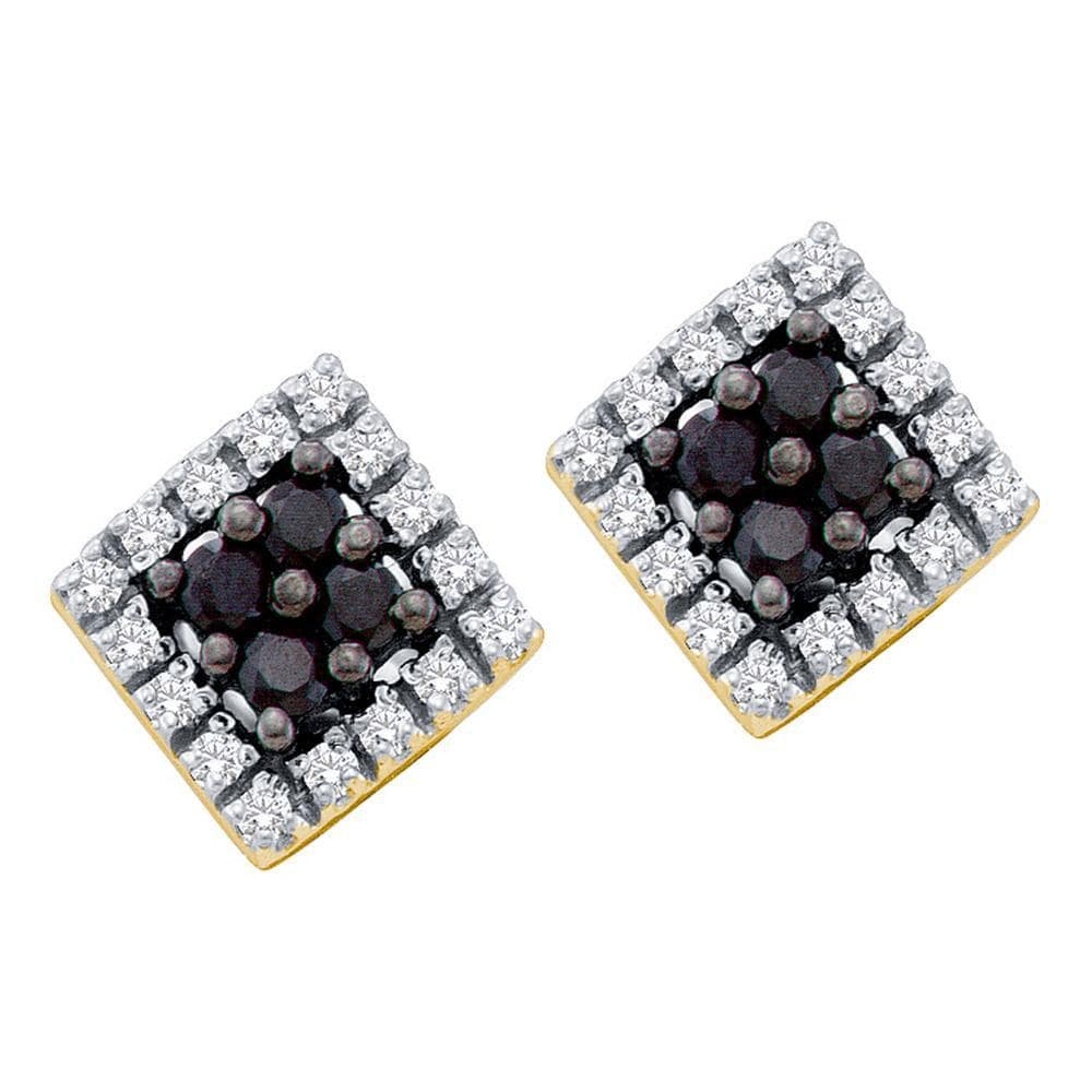 14kt Yellow Gold Womens Round Black Color Enhanced Diamond Square Cluster Earrings 1/4 Cttw