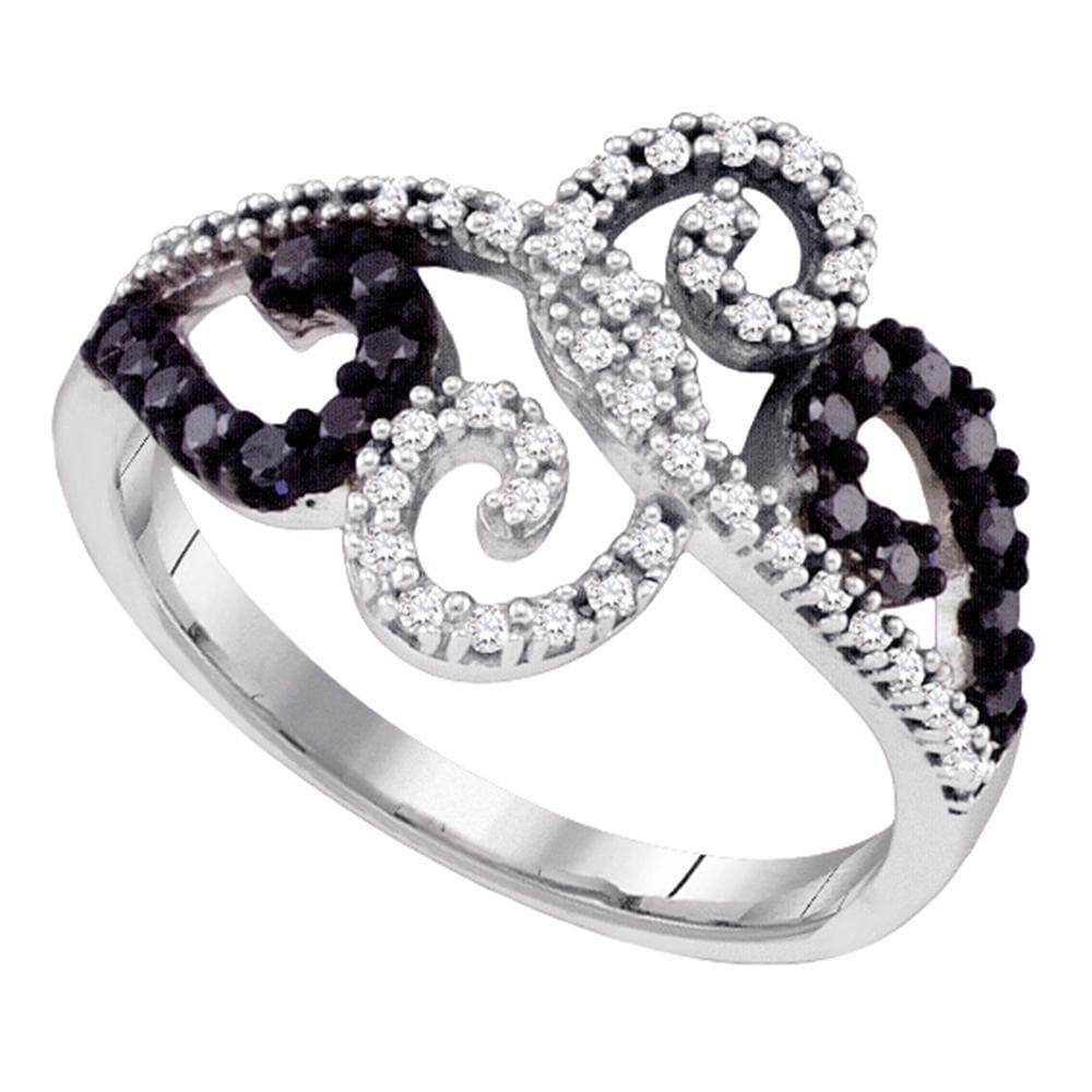 14kt White Gold Womens Round Black Color Enhanced Diamond Curl Ring 1/3 Cttw