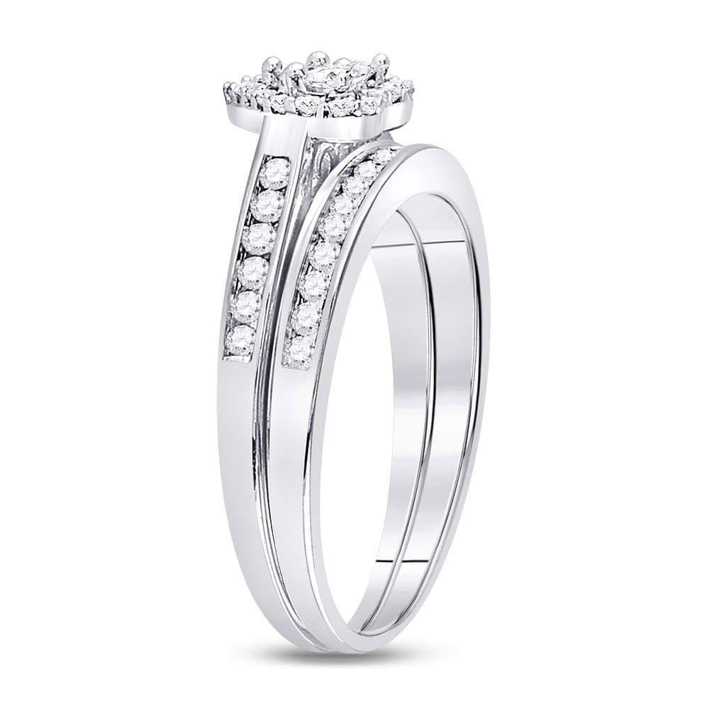10kt White Gold Diamond Heart Bridal Wedding Ring Band Set 1/2 Cttw
