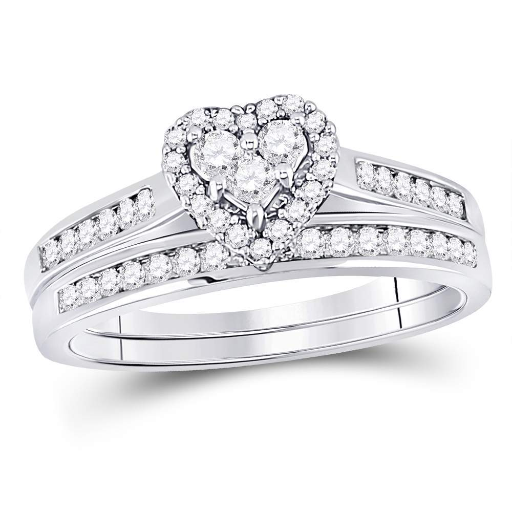 10kt White Gold Womens Diamond Heart Bridal Wedding Engagement Ring Band Set 1/2 Cttw