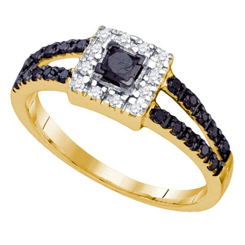 14kt Yellow Gold Womens Princess Black Color Enhanced Diamond Halo Bridal Wedding Engagement Ring 1/2 Cttw