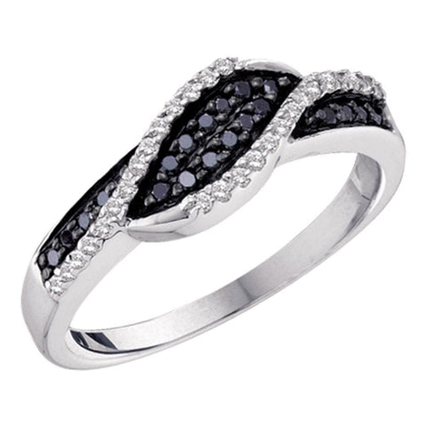 10kt White Gold Womens Round Black Color Enhanced Diamond Band Ring 1/4 Cttw