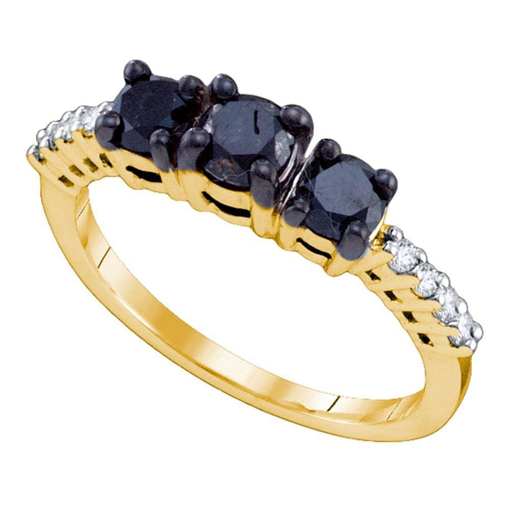 10kt Yellow Gold Round Black Color Enhanced Diamond 3-stone Bridal Wedding Ring 1 Cttw