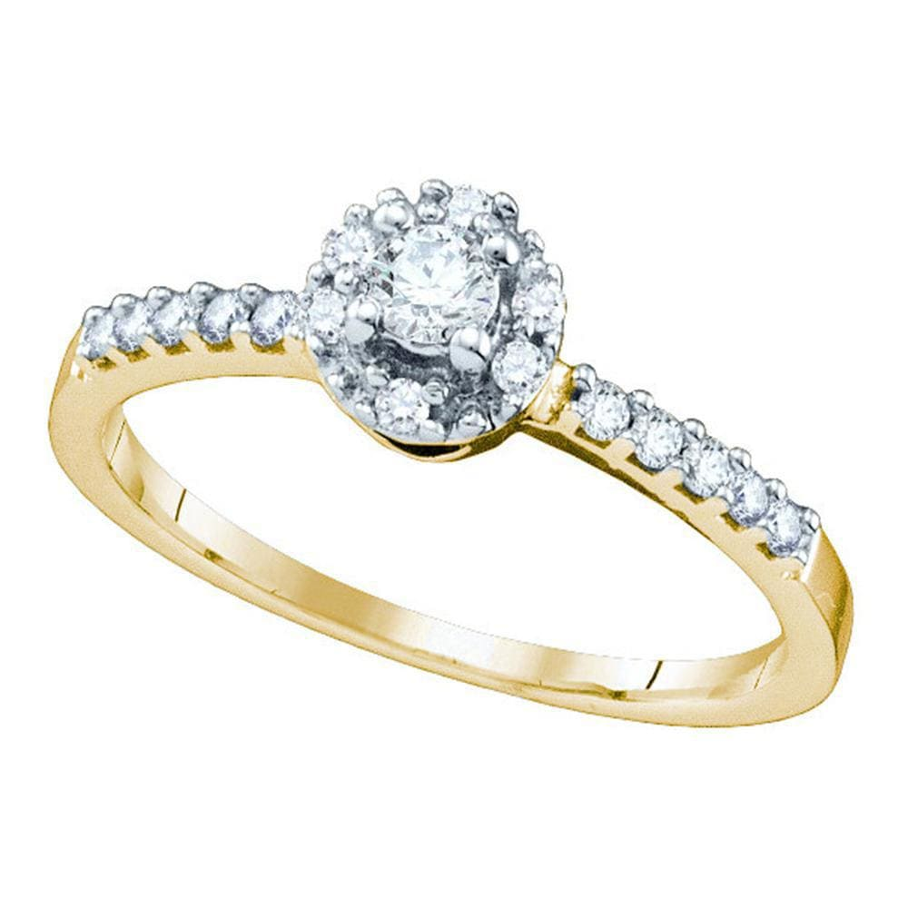 10kt Yellow Gold Round Diamond Solitaire Halo Bridal Wedding Engagement Ring 1/4 Cttw