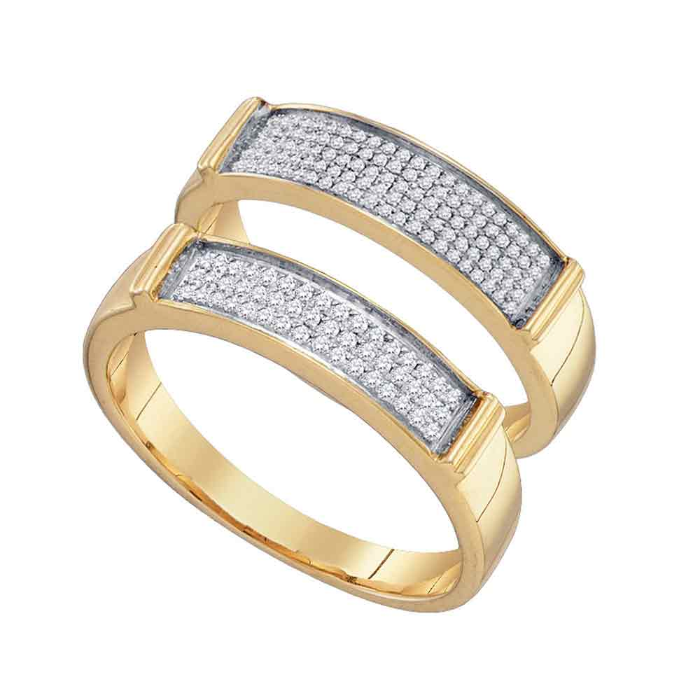 10kt Yellow Gold His & Hers Round Diamond Matching Bridal Wedding Band Set 1/3 Cttw