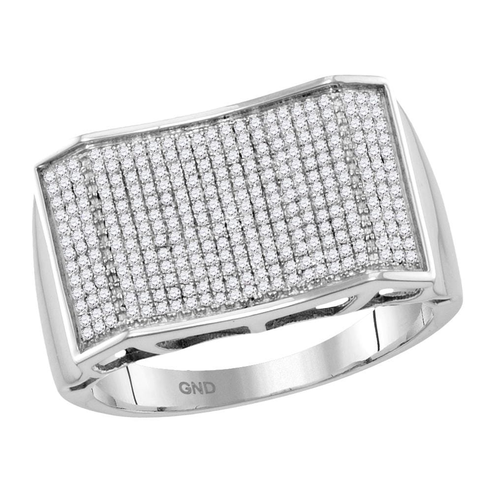 10kt White Gold Mens Round Pave-set Diamond Rectangle Convex Cluster Ring 5/8 Cttw