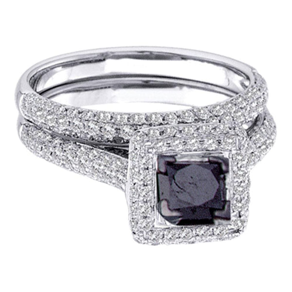14kt White Gold Womens  Black Color Enhanced Diamond Bridal Wedding Engagement Ring Band Set 1-1/4 Cttw