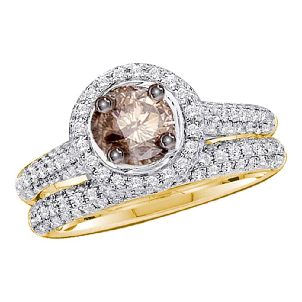 14kt Yellow Gold Womens Round Brown Diamond Bridal Wedding Engagement Set 1-1/4 Cttw