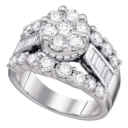 14kt White Gold Womens Round Diamond Cluster Bridal Wedding Engagement Ring 4.00 Cttw