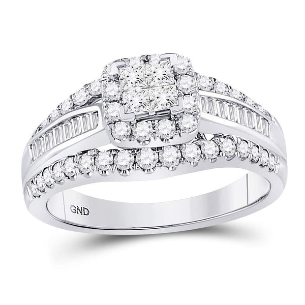 14kt White Gold Womens Princess Diamond Princess Bridal Wedding Engagement Ring 1.00 Cttw