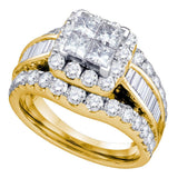 14kt Yellow Gold Womens Princess Diamond Cluster Bridal Wedding Engagement Ring 2.00 Cttw
