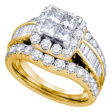 14kt Yellow Gold Womens Princess Diamond Halo Cluster Bridal Wedding Engagement Ring 3.00 Cttw
