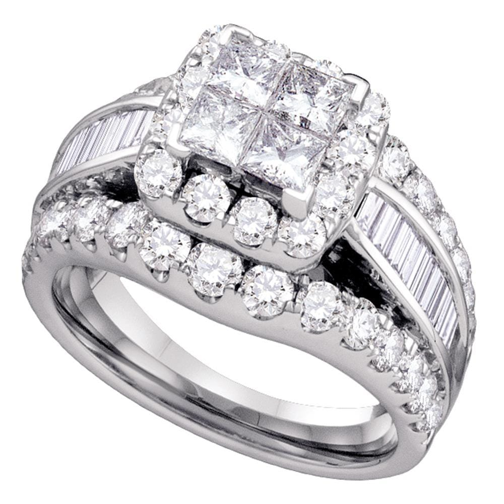 14kt White Gold Womens Princess Diamond Halo Cluster Bridal Wedding Engagement Ring 3.00 Cttw