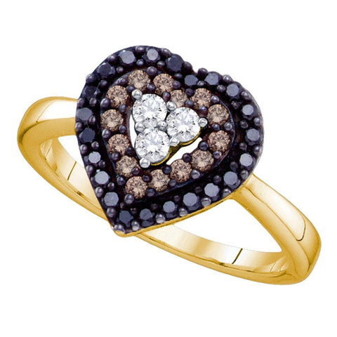 14kt Yellow Gold Womens Round Black Color Enhanced Diamond Heart Love Ring 1/2 Cttw