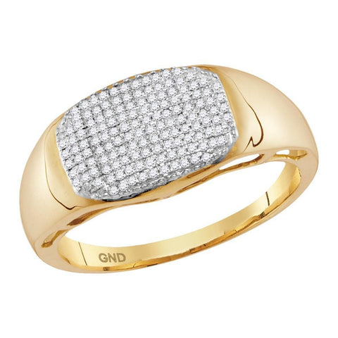10kt Yellow Gold Mens Round Pave-set Diamond Oval Cluster Ring 1/4 Cttw