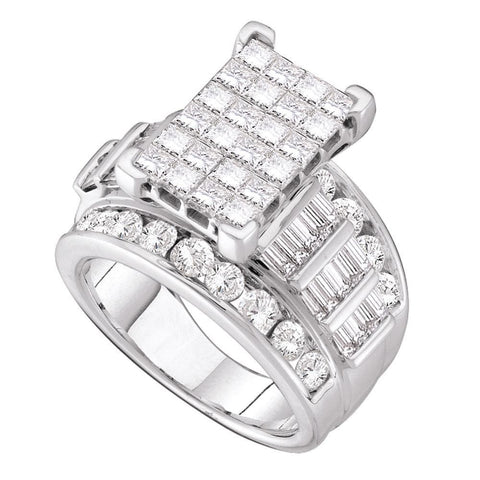 14kt White Gold Womens Princess Diamond Cindys Dream Cluster Bridal Wedding Engagement Ring 4.00 Cttw - Size 6