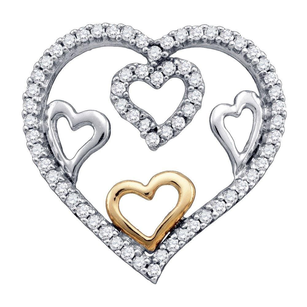 10kt White Gold Womens Round Diamond Nested Heart Outline Pendant 1/5 Cttw