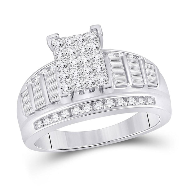 10kt White Gold Womens Princess Diamond Cluster Bridal Wedding Engagement Ring 1.00 Cttw