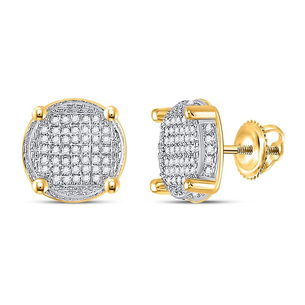 10kt Yellow Gold Mens Round Diamond Circle Cluster Earrings 1/4 Cttw