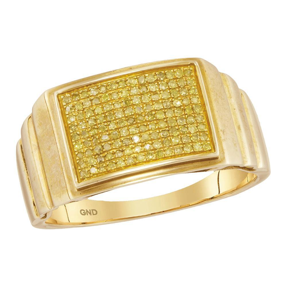 10kt Yellow Gold Mens Round Yellow Color Enhanced Diamond Cluster Ring 1/4 Cttw