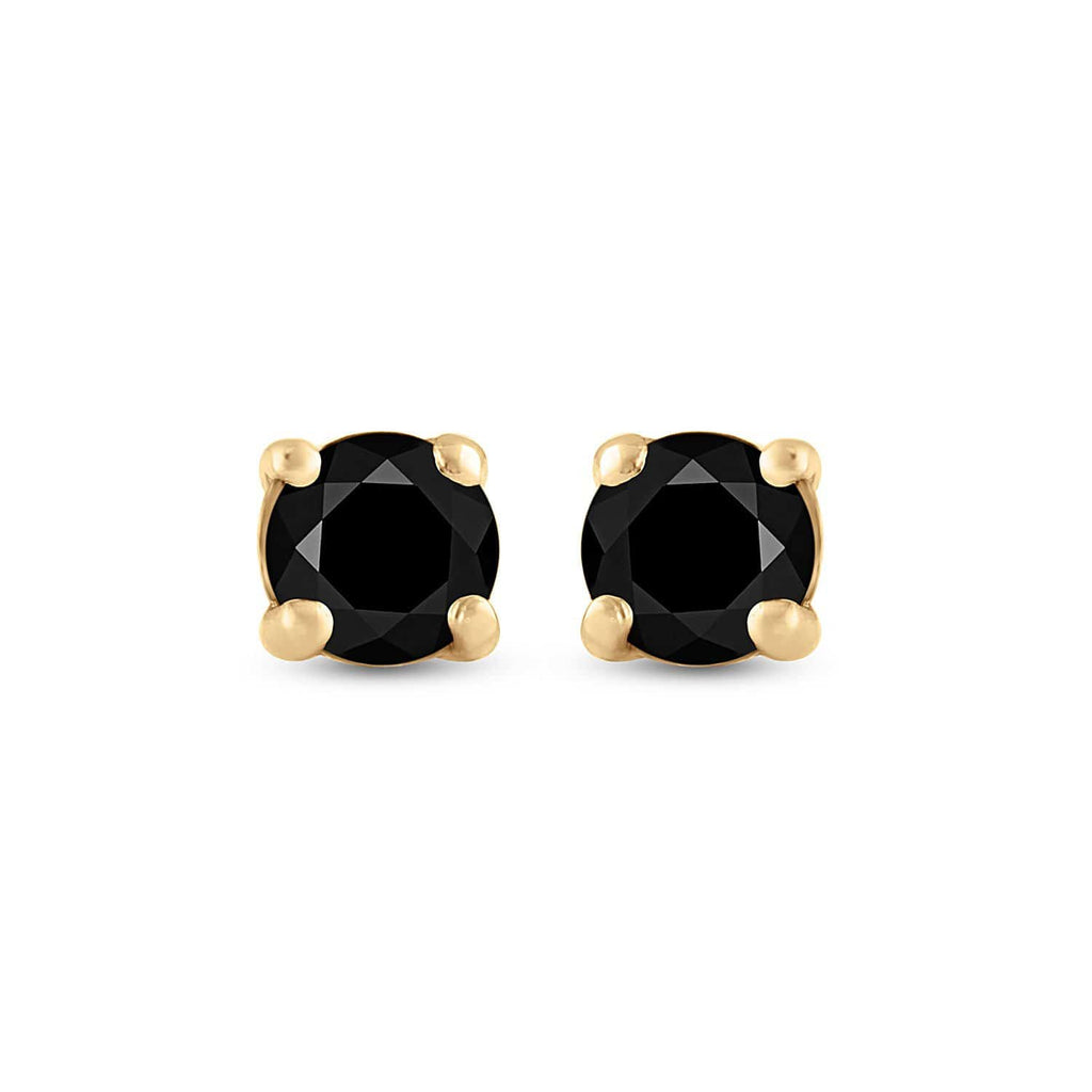 10kt Yellow Gold Womens Round Black Color Enhanced Diamond Solitaire Earrings 3/4 Cttw
