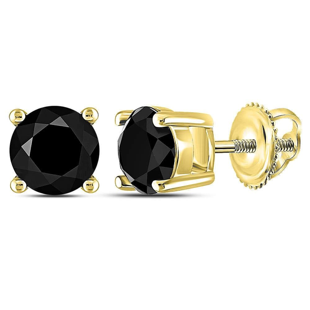 10kt Yellow Gold Womens Round Black Color Enhanced Diamond Solitaire Earrings 1-1/2 Cttw