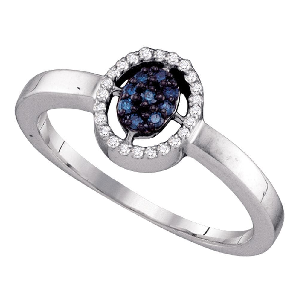 10kt White Gold Womens Round Blue Color Enhanced Diamond Cluster Ring 1/6 Cttw