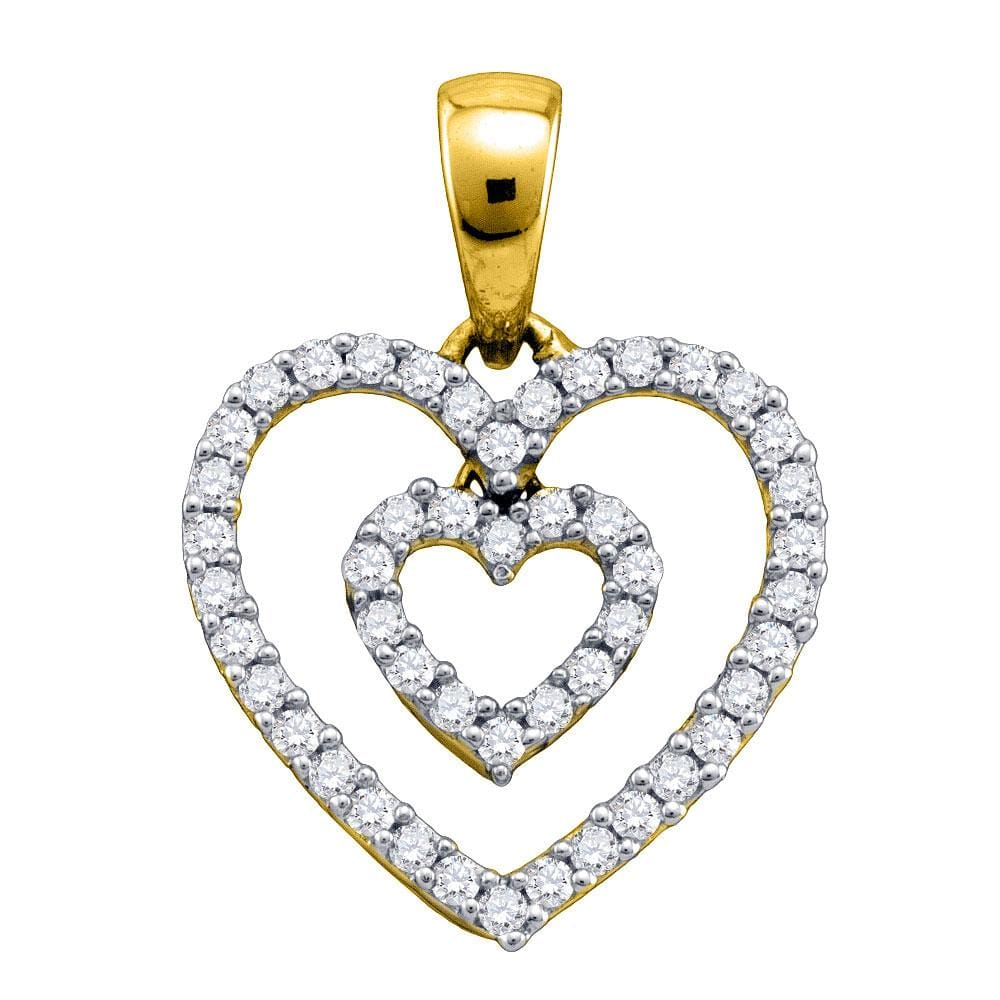 10k Yellow Gold Womens Round Diamond Open-Center Double Nested Heart Dangle Pendant 1/6 Cttw