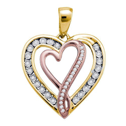 10kt Yellow Gold Womens Round Diamond Double Nested Heart Love Pendant 1/8 Cttw