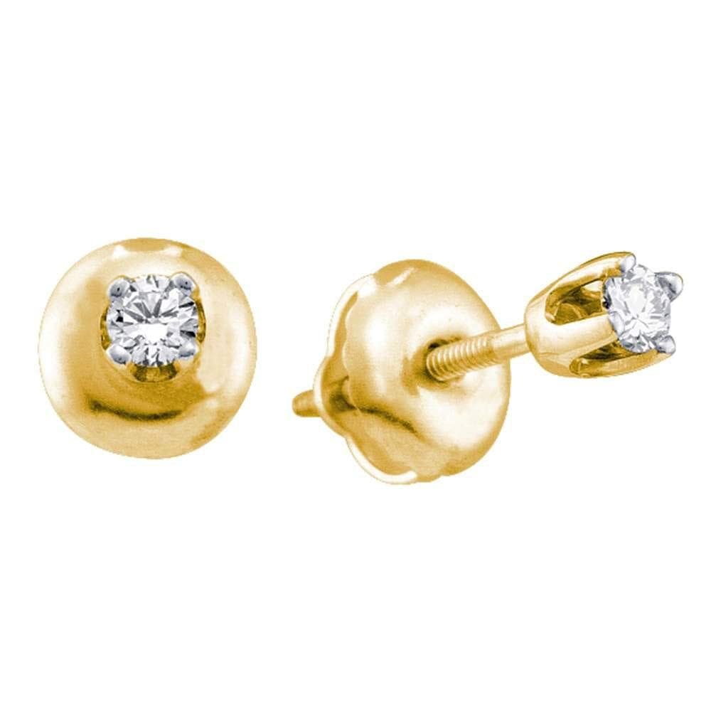 14kt Yellow Gold Girls Infant Secure Screwback Round Diamond Solitaire Stud Baby Earrings 1/20 Cttw