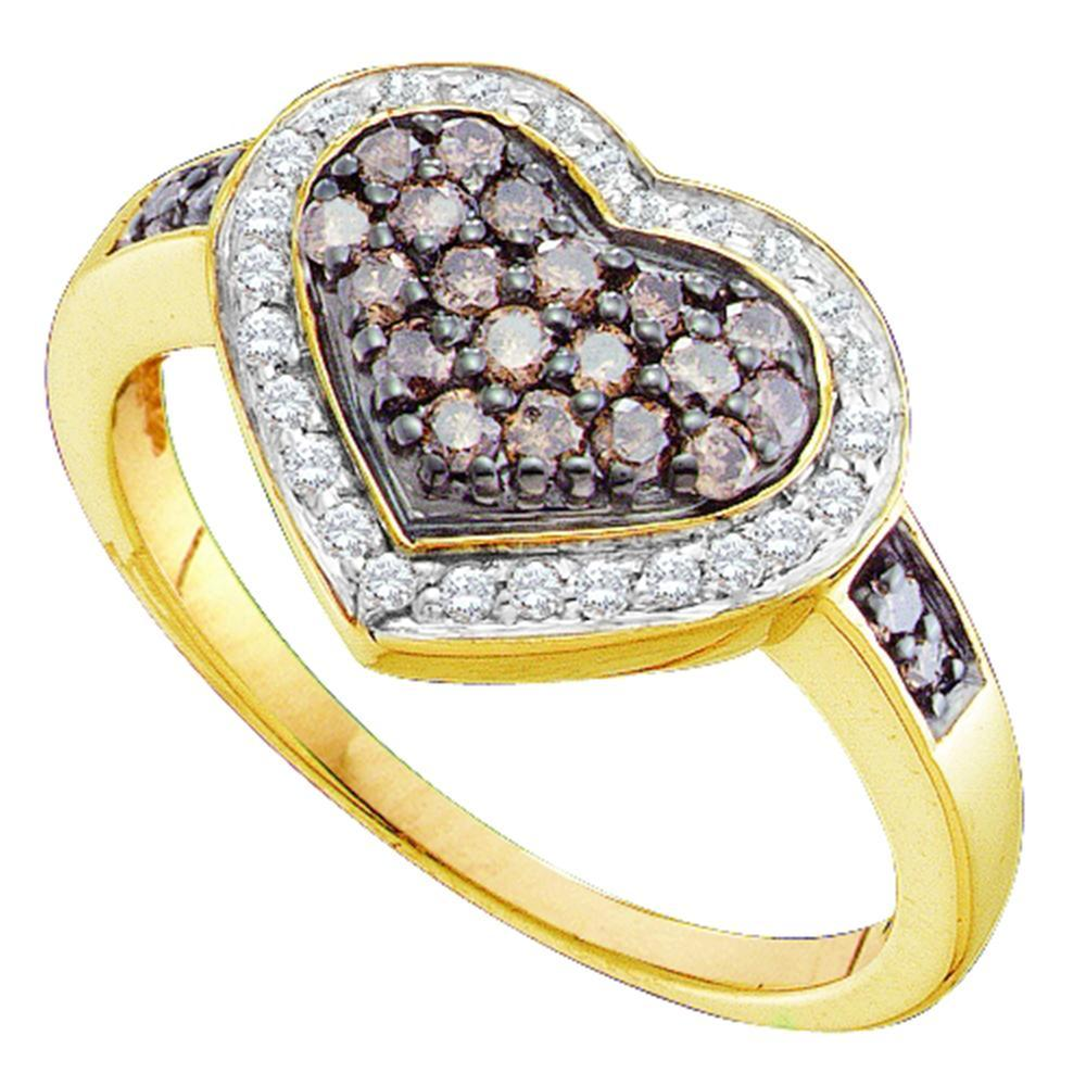 10kt Yellow Gold Womens Round Cognac-brown Color Enhanced Diamond Framed Heart Cluster Ring 1/2 Cttw